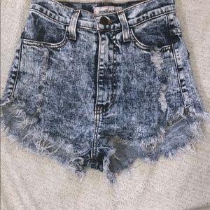 Vibrant miu Acid wash high waisted shorts